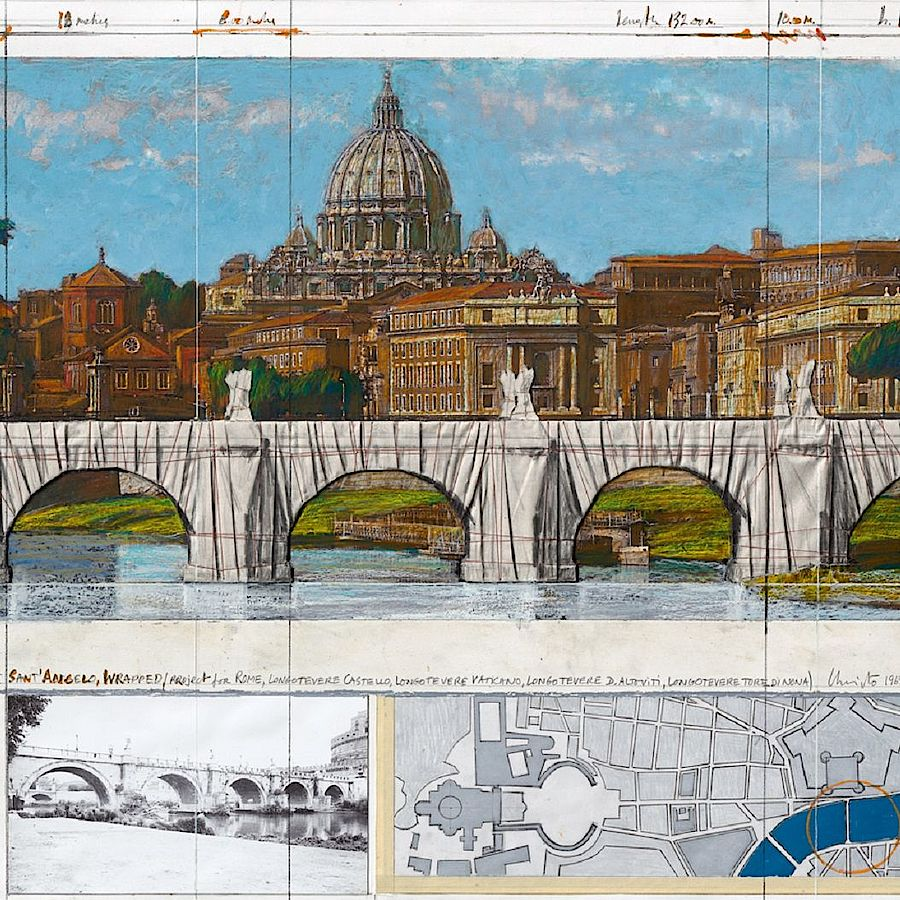 Korff Stiftung - Christo - Graphics - Ponte San Angelo, Wrapped, Project for Rome, 1969-2011