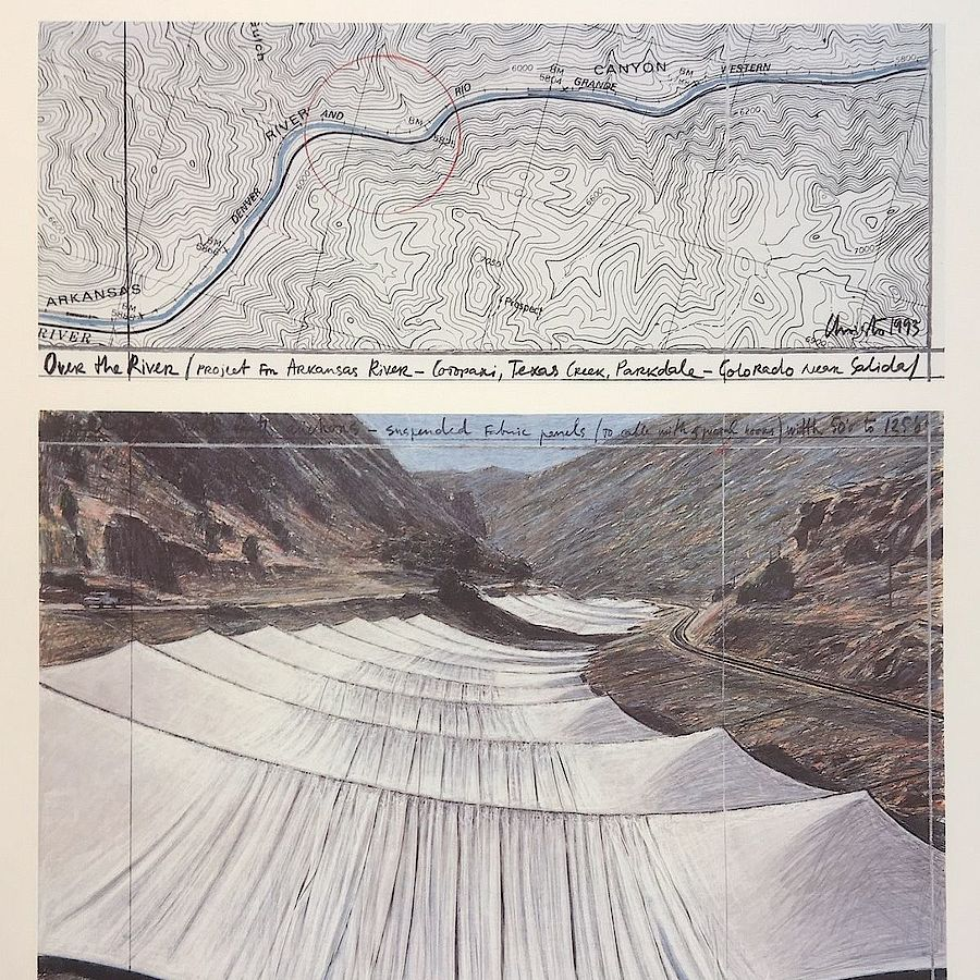 Korff Stiftung - Christo - Grafiken - Over the River I, above